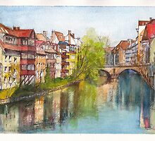 River Pegnitz in the Old Town of Nuremberg, Germany by Dai Wynn