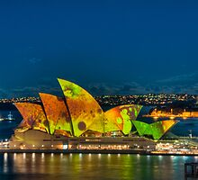Vivid Opera House with Fort Denison by Erik Schlogl