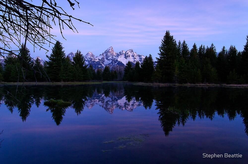 Purple Calm - Pre-Dawn View of the Tetons by Stephen Beattie