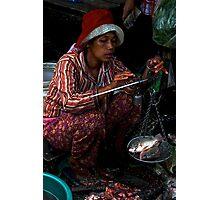 The Market's Fishes Lady - Phnom Penh, Cambodia. Photographic Print