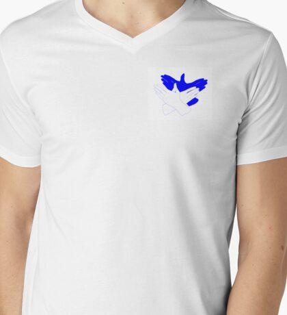Blue/White Bird Hand Shadow Mens V-Neck T-Shirt