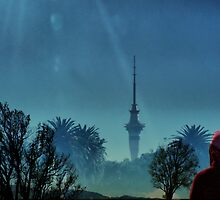 Sky Tower - Auckland skyline. by Lynne Haselden