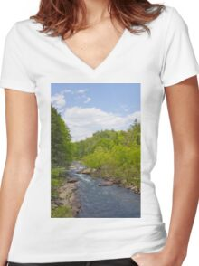 Stream Path Sky Women's Fitted V-Neck T-Shirt