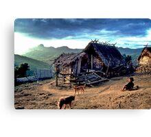 Mountain village and go-kart Canvas Print