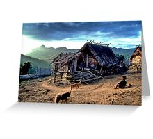 Mountain village and go-kart Greeting Card