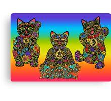 Maneki Neko Lucky Black Cat Collection Canvas Print