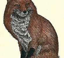 Red Fox Pen Drawing by JackassKershaw