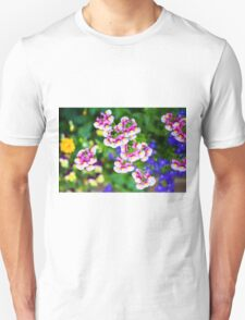 flowering garden. Red, white and pink blooming flowers T-Shirt