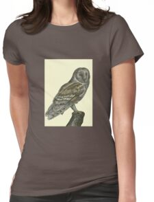 Barn Owl Pen Drawing Womens Fitted T-Shirt
