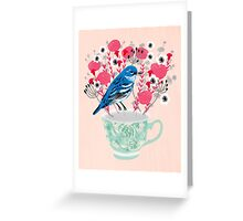 Bird on a Teacup by Andrea Lauren  Greeting Card