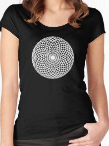White Geometric eye  Women's Fitted Scoop T-Shirt