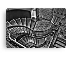 Vertigo - The Grand Stair Case (Monochrome)- QVB , Sydney - The HDR Experience Canvas Print