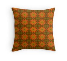 Autumnal Leaves Red and Green Repeating Pattern Throw Pillow