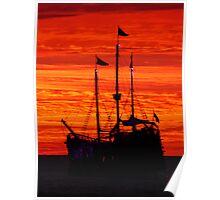 sunset with galleon . puesta del sol con galeón Poster