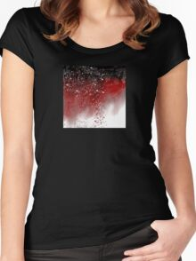 Abstract Art in Red, Black, and White Women's Fitted Scoop T-Shirt
