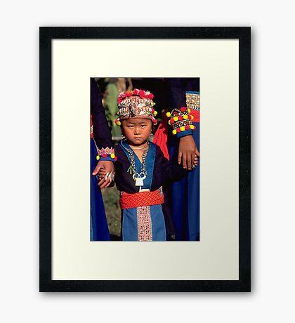 White Hmong girl in her finery Framed Print