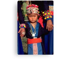 White Hmong girl in her finery Canvas Print
