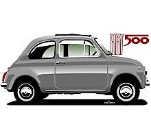 Classic Fiat 500F grey Photographic Print