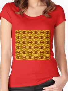Red and Gold Christmas Abstract Women's Fitted Scoop T-Shirt