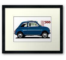 Classic Fiat 500F blue Framed Print