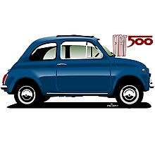 Classic Fiat 500F blue Photographic Print