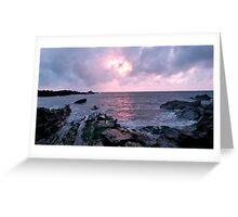 Pink sunset Ilfracombe, UK Greeting Card
