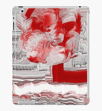 Unique Woven Floral Design in Red and White iPad Case/Skin