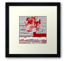 Unique Woven Floral Design in Red and White Framed Print