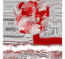 Unique Woven Floral Design in Red and White Photographic Print