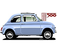 Classic Fiat 500F light blue Photographic Print