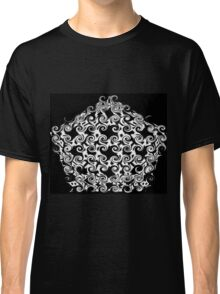 Curlicues Pentagon Black and White Pattern Classic T-Shirt