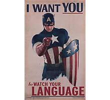 Age Of Ultron - Watch Your Language! Photographic Print