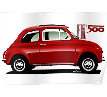 Classic Fiat 500F red Poster