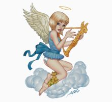 Little Angel with Halo and Golden Harp by Al Rio by alrioart