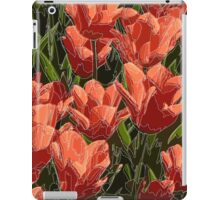 red tulips white lines iPad Case/Skin