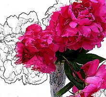 Three Peonies by Michelle Crandall