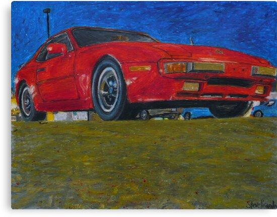A Porsche 944 drawing in oil pastel. by SteveBrandon