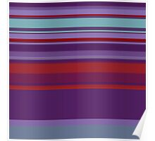 Bar-Code Pattern in Red, Purple, and Teal Poster