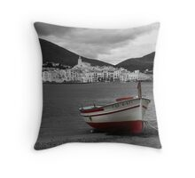 The Red Boat at Cadaques Throw Pillow