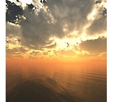 Cloudy Sunrise Over Water Photographic Print