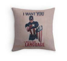 Age Of Ultron - Watch Your Language! Throw Pillow