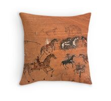 Blue Bull Pictograph Throw Pillow