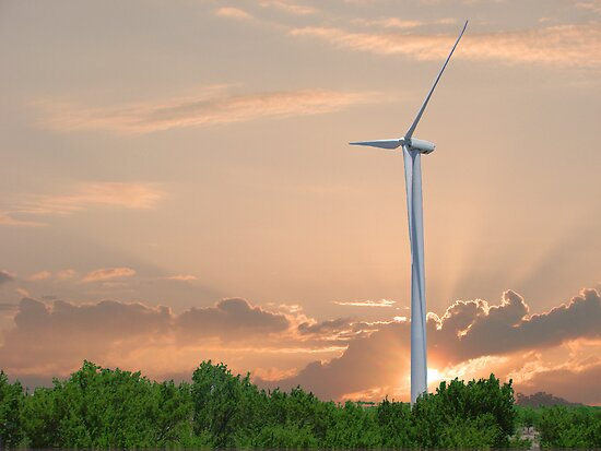 Wind Turbine with golden and pink sky by loki1982