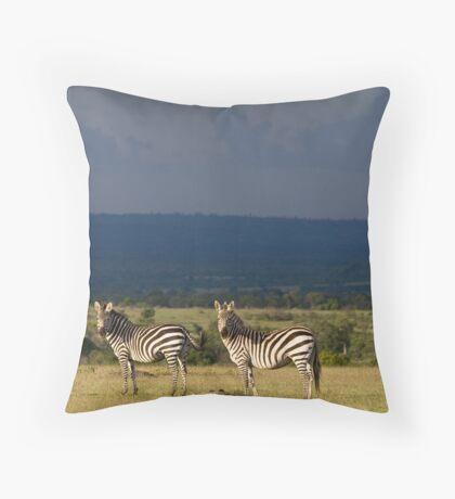 Zebra's, Masai Mara, Kenya Throw Pillow