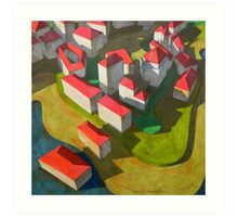 virtual model with red houses Art Print