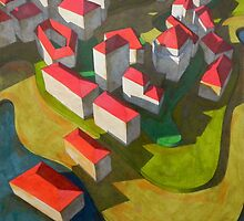 virtual model with red houses by federico cortese