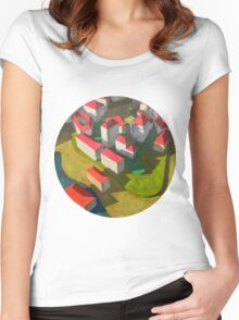 virtual model with red houses Women's Fitted Scoop T-Shirt