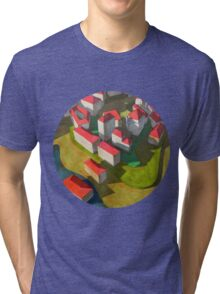 virtual model with red houses Tri-blend T-Shirt