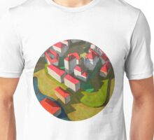virtual model with red houses Unisex T-Shirt