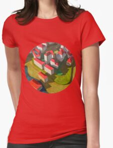 virtual model with red houses Womens Fitted T-Shirt